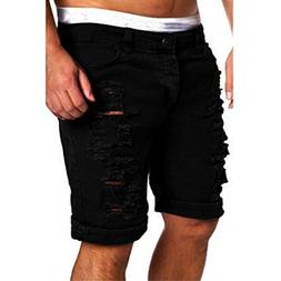 PASATO 2018 New Hot Men's Casual Jeans Destroyed Knee Length