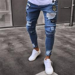 2019 <font><b>Men's</b></font> Stretchy Ripped Skinny Biker
