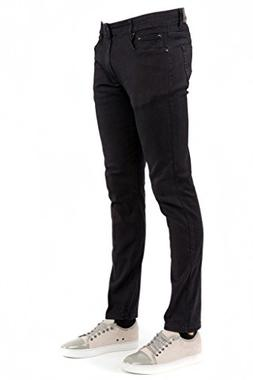 Perruzo Men\'s 714 Skinny Jeans, Black, 28Wx30L