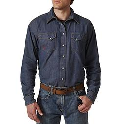 Ariat Men's Big Flame Resistant Long Sleeve Snap Shirt, Deni