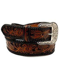 Ariat Unisex-Adults Floral Inlay Edge Laced Belt, Black/Brow