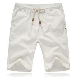 Binmer Men's Comfortable Shorts Cotton Linen Pants Summer Mi