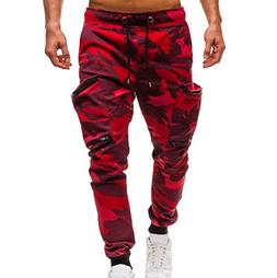 Hattfart Mens Casual Autumn Cotton Elastic Draw String Sports Gym Jogger Pants Trousers Loose