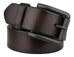 Bullko Men's Genuine Leather Belt Brown Casual Jean Belts fo