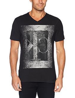 Calvin Klein Jeans Men's Short Sleeve Crackled CK V-Neck T-S