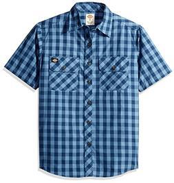 Dickies Men's Short Sleeve Buffalo Plaid Shirt, Denim/Dark D