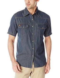 Dickies Men's Short Sleeve Denim Western Shirt, Indigo, Smal