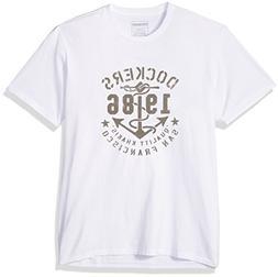 Dockers Men's Crewneck Graphic Short Sleeve T-Shirt, Dark Wh