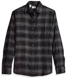 Dockers Men's Jaspe Plaid Long Sleeve Button Front Shirt, Bl
