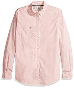 Dockers Men's Oxford Long Sleeve Button Front Shirt, Red, Me