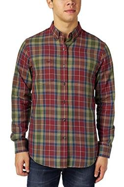 Dockers Men's Twill Long Sleeve Button Front Shirt, Oxblood