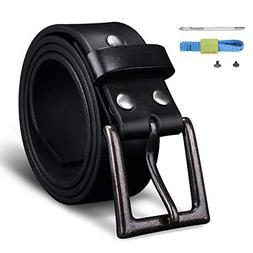 "Finrosy Men's Leather Belt 1.57""-Wide Snap on Belt Strap Wit"