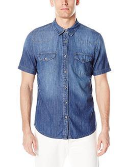 GUESS Men's Western Slim Denim Shirt, Medium Wash Blue, XL