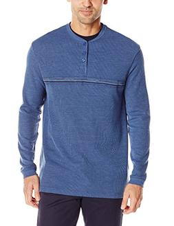 Haggar Men's Long Sleeve 2 in 1 Flat Back Rib Knit Henley, D