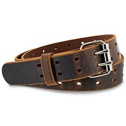 "Hanks Woodstock Belt - 1.5"" Double Prong Men's Belt - Made"