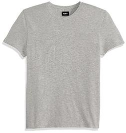 Hudson Jeans Men's Crewneck Pocket Tee Shirt, Heather Grey,