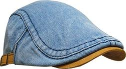 KBM-210 LIGHT DENIM Denim Suede Peak Newsboy Ivy Cabbie Hat