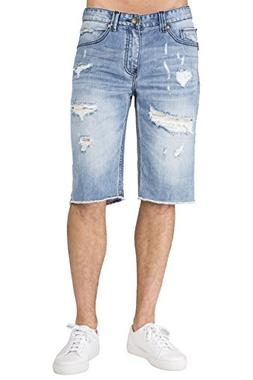 Level 7 Men's Light Blue Relax Premium Denim Cut Off Shorts
