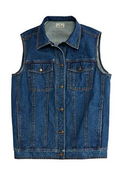 Liberty Blues Men's Big & Tall Button Front Cotton Denim Ves