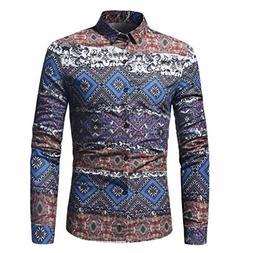 Longay Men's Printed Shirt Plus Size Slim Fit Long Sleeve