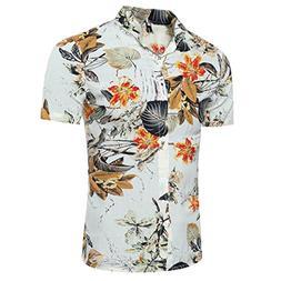 Longay Men's Printed Shirt Plus Size Slim Fit Short Sleeve