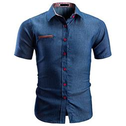 Longay Men's Shirt Plus Size Slim Fit Short Sleeves Casual
