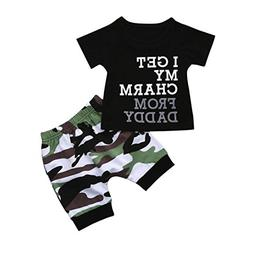 Lookatool Toddler Kids Baby Boy Letter T Shirt Tops+Camoufla