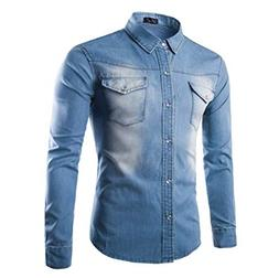 MMYOMI Mens Casual Western Stonewash Long Sleeved Button Dow
