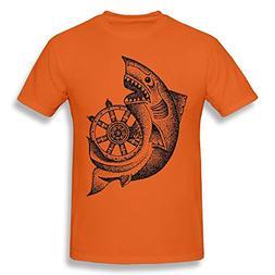 Mans Casual Soft O-Neck Around The Wheel T Shirt Orange 3X