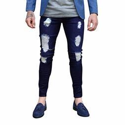 Men Jeans Daoroka Men's Plus Size Ripped Skinny Denim Slim F