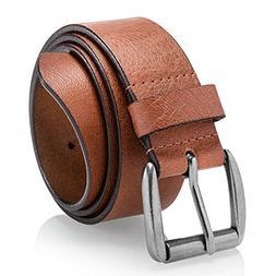 Men's Casual Belt, Super Soft Full Grain Leather, Tan, Size