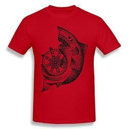 Men's Casual Soft Round Neck Around The Wheel T Shirts Red 3