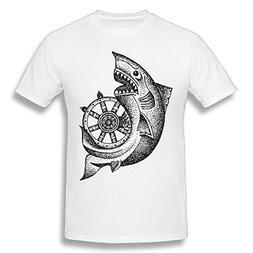 Men's Stylish Super Soft O-Neck Around The Wheel T-Shirt Whi