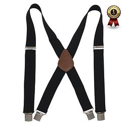 Men' s X Back Suspenders with 4 Quality Controlled Clips &