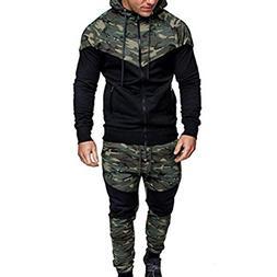 Mens Autumn Winter Camouflage Sweatshirt Top Pants Sets Spor