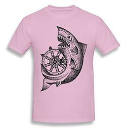 Man's Cotton Soft Round Neck Around The Wheel T Shirt Pink 3