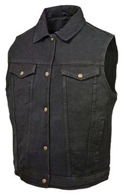 DM1331 Milwaukee Leather Men/'s Snap Front Motorcycle Denim Vest W// Shirt Collar