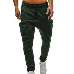 OWMEOT Men's Athletic Running Sport Jogger Pants with Zipper