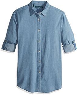 Perry Ellis Men's Dotted Denim Roll Sleeve Shirt, Alaskan Bl