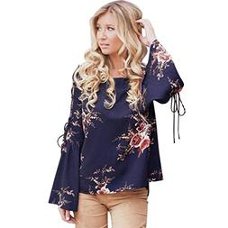SMALLE ◕‿◕ Clearance,Women Floral Flare Sexy Cold Off