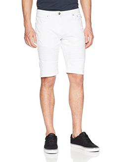 Southpole Men's Denim Shorts with Destructed Ripped and Repa