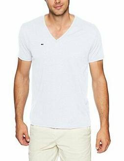 Tommy Jeans Men's V Neck T-Shirt, Classic White, Large