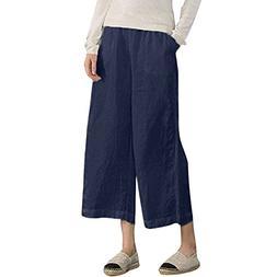 UOFOCO Women's Wide Leg Pants Elastic Waist Causal Loose Lin
