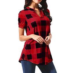 2354c4b583 UONQD Women Faded Long Casual Hood Dress Collarless Flannel