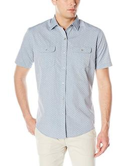 Van Heusen Men's Short-Sleeve Indigo Faux Denim Dobby Shirt,