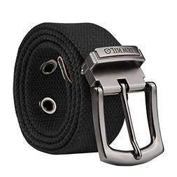 Vbiger Casual Canvas Belt Simple Solid Color Web Belt Heavy