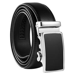 Vbiger Men's Leather Belt Sliding Buckle 35mm Ratchet Belt B