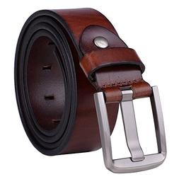 Vbiger Mens Smooth Genuine Leather Belt with Detachable Buck