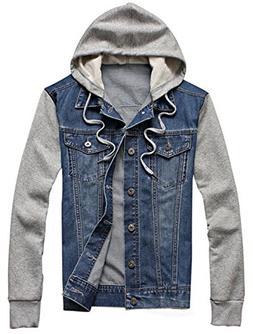 XueYin Men's Denim Hoodie Jacket with Hat Slim Fit Casual We
