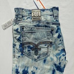 Rock Revival Adane Straight Jeans Men`s Size 38 40x34 Acid W